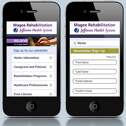 Magee Rehabilitation: Mobile web architecture